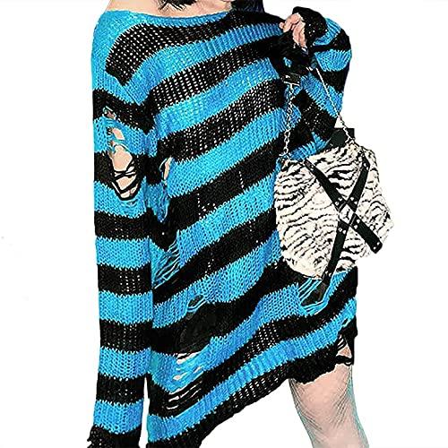 Sheey Suter Largo Moda Gtica para Mujer Punto Delgado Caliente Casual Suelto Rayas Ropa Deporte Jersey Blusa Abrigo Chaqueta Sudadera Jack Otoo Invierno Fiesta Trabajo