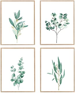 Pastel Watercolor Eucalyptus Print, Set of 4 Botanical Leaf Wall Art, Green Plant Painting Poster 8x10 Unframed