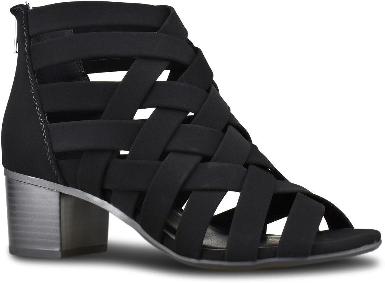 Premier Standard - Women's Peep Toe Bootie - Stacked Suede Mule Low Heel - Open Toe Cutout Ankle Strap