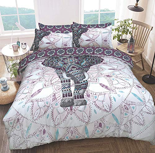 Sleepdown Elephant Mandala Purple Bed Reversable Quilt Duvet Cover Set Easy Care Anti-Allergic Soft & Smooth with Pillow Cases (Single)