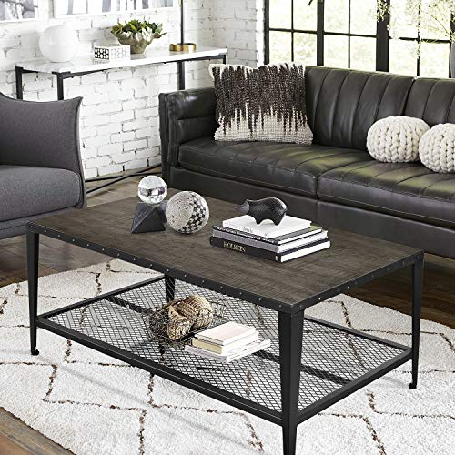 """Decok Rustic Coffee Table 44"""" with Storage Mesh Shelf for Living Room, Modern Wood Look Accent Furniture with Rivet Metal Frame, Industrial, Retro Black"""