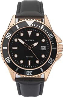 Sekonda Mens Analogue Quartz Watch with Black Leather Strap Rose Gold Case and Black Dial 1515