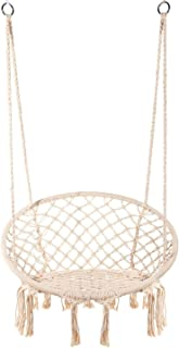 Lelly Q Hammock Chair Macrame Swing Nordic Style Handmade Hanging Chair Swing Chair - Max. 265 Lbs Seat for The Living Room,Yard,Garden, Balconyor Spaces - Max. 265 lbs - 2 Seat Cushions (Beige)