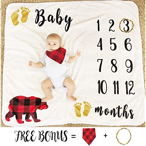 f1372b42b Baby Monthly Milestone Blanket for Boy Girl, Large Personalized Photography  Background Blankets, Thick Fleece