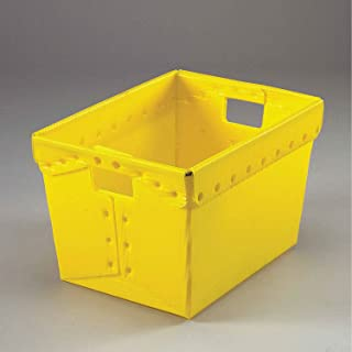 Postal Mail Tote Without Lid, Corrugated Plastic, Yellow, 18-1/2x13-1/4x12 - Lot of 10