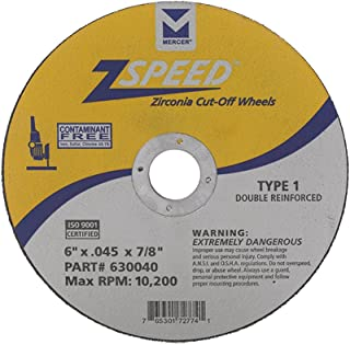"Mercer Industries 630040 Type 1 Zspeed Zirconia Cut-Off Wheel, Double Reinforced, Ferrous Metals & Stainless Steel, 6"" x ...."