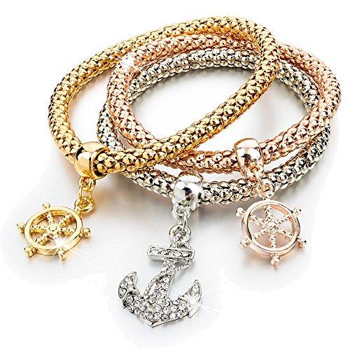 BASE Set di 3 Bracciali donna con charms con cristalli - adattabile fino a 20 cm - con 3 pendenti - oro bianco, giallo, rosa - idea regalo - con charm e ciondoli (ANCORA)