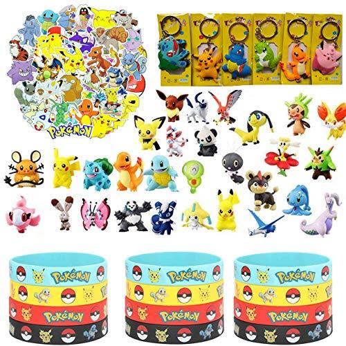 YAOJIN Ensemble de Jouets Pokemon,Pokémon Mini Figures/Pokémon Bracelets /Porte-clés Pokémon/AutocollantsPokemon /Pokemon Kit de Fête d'anniversaire pour Enfants