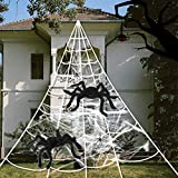 Spider Webs Halloween Decorations, 2 pcs 20 ' Giant Spider + 23FTx18FT Huge Spider Web + 80g Stretch Web Component for Outdoor Halloween Decorations Yard Lawn Home Costumes Party Haunted House Decor