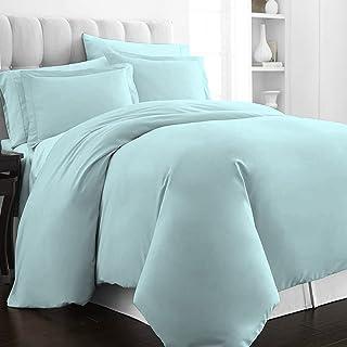Pizuna 400 Thread Count Cotton Queen Duvet Cover Set Ice Aqua, Luxury Soft Satin 100% Long Staple Cotton Queen Bed Set Sof...