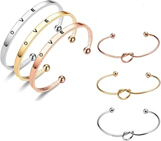 Inspirational Gifts Cuff Bracelets Friend Encouragement Bangle Bracelets with 3 Pieces Love Knot Bracelet Bangle for Daugh...