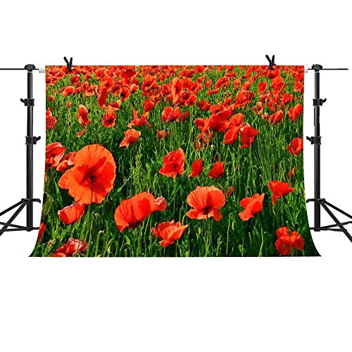 MME Backdrop 7x5ft Red Poppies Sea Background Romantic Wedding Photography Seamless Vinyl Photo Studio Props LXME617
