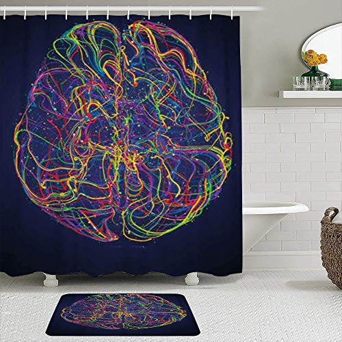 LISNIANY Conjunto De Ducha Cortina Alfombra,Vector Colorido Cerebro Humano con sinapsis Imagen Conceptual de la Idea Nacimiento,Uso en baño, Hotel
