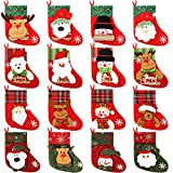 32 Pieces Mini Christmas Stockings Christmas Silverware Holders Card Candy Stockings Bag 3D Santa Snowman Elk Christmas Tree Stockings Little Christmas Stockings for Holiday Decor Supplies