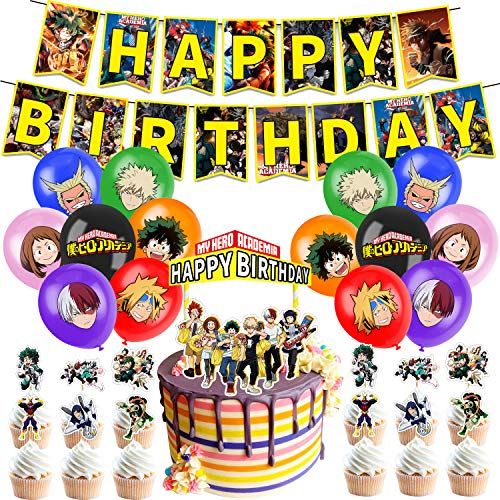 My Hero Academia Party Supplies, Birthday Decorations Set Including Balloons, Banner, Cake Toppers, Cupcake Toppers for MHA Fans Kids, MHA Theme Birthday Party Supplies