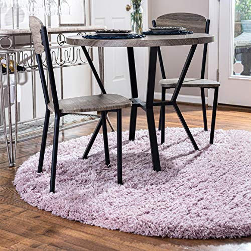 Rugs.com Infinity Collection Solid Shag Area Rug – 3 Ft Round Lavender Shag Rug Perfect for Kitchens, Dining Rooms