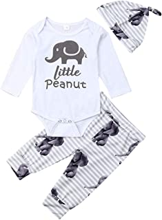 3PCS Toddler Newborn Infant Baby Boys Elephant Clothes Cute Little Peanut Romper Bodysuit+Pants Hat Fall Outfits Set