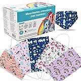 50 Pezzi Mascherine bambini protettiva colorata personale 3 strati CE tipo II, Nasello Regolabile, Pacchi individuali (F11)