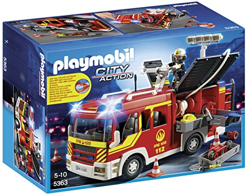 PLAYMOBIL Bomberos- Fire Engine with Lights and Sound Camió