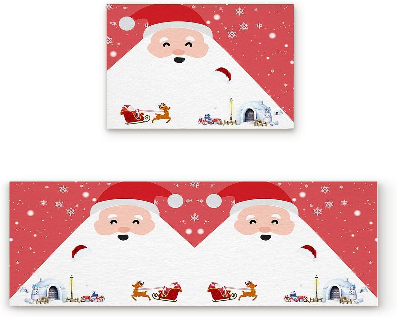 Aomike 2 Piece Non-Slip Kitchen Mat Rubber Backing Doormat Santa Claus Snow House Runner Rug Set, Hallway Living Room Balcony Bathroom Carpet Sets (19.7  x 31.5 +19.7  x 47.2 )