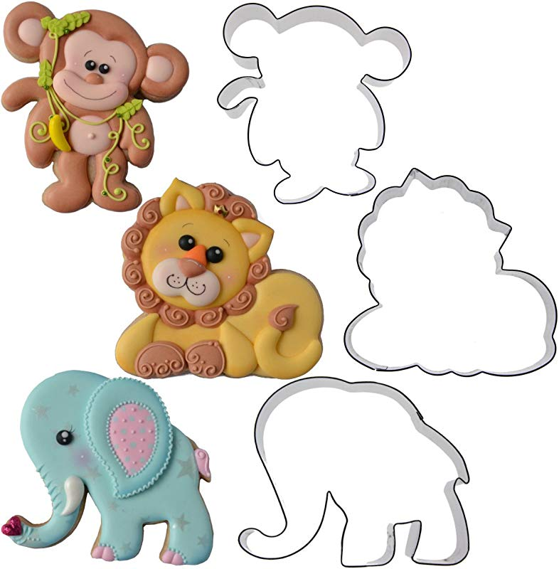Jungle Animal Cookie Cutter Set Elephant Monkey Lion By Chapix Cookies