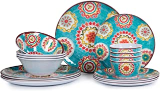 16pcs Melamine Dinnerware Set for 4, Outdoor and Indoor Dinner Dishes Set for Everyday Use, Break-resistant, Turquoise