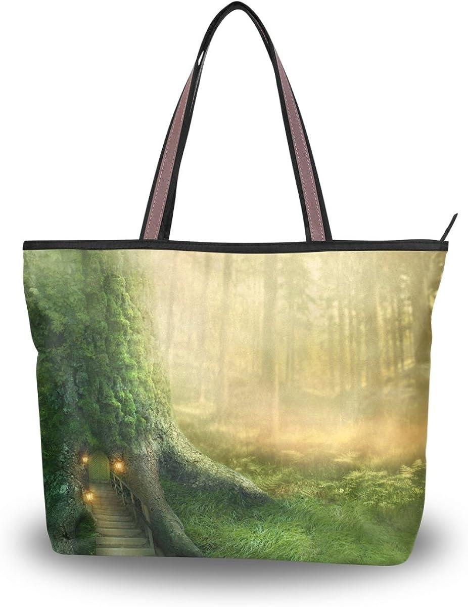 JSTEL Women Large Tote Top Handle Shoulder Bags Forest Old Tree Patern Ladies Handbag L