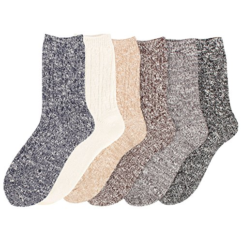 Women's 6 Pack Fashion Warm Crew Quarter Knitted Cotton Winter Socks