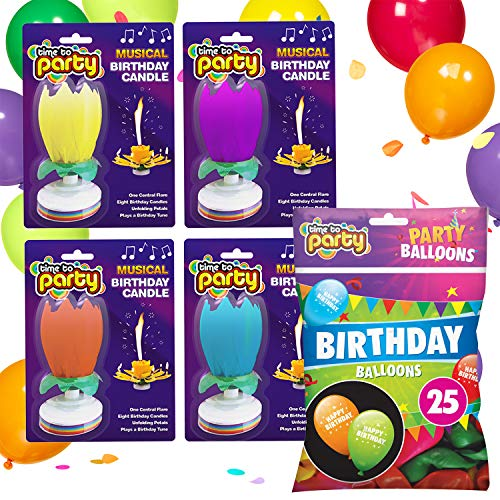 Time to Party Musical Birthday Candle and Balloon Set | 4pk Lotus Flower Birthday Candle and 25 Printed Birthday Balloon
