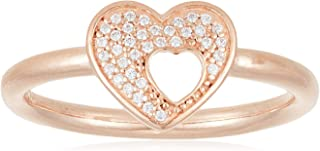 PANDORA Shimmering Puzzle Heart Frame Ring, PANDORA Rose & Clear CZ 186550CZ-56 EU 7.5 US