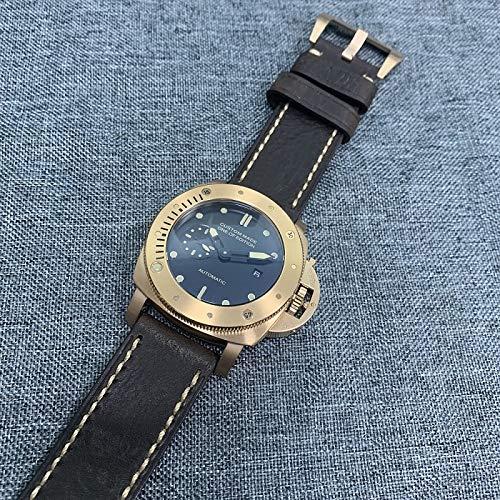 MKOIJN Horloges Horloge Mannen Automatisch Uurwerk 47Mm Roestvrij Stalen Kast Lederen Band Lichtgevende Achterkant Display Luxe Merk Horloge