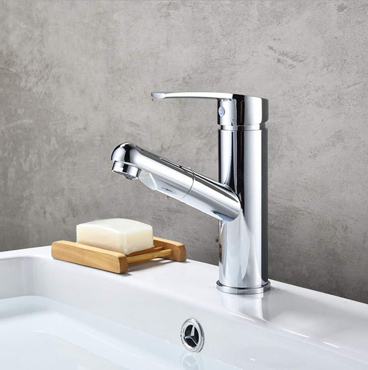 Xiujie Faucet All Copper Pullable Basin Faucet Washbasin Hot and Cold Water Retractable Bathroom Cabinet Pull-Out Faucet