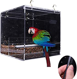No-Mess Acrylic Automatic Parrot Bird Feeder No Mess Feeding Device Seed Food Container for Small and Medium Sized Birds Outdoor Birdfeeders for Wild Birds, Finch, Cardinal, and Bluebird