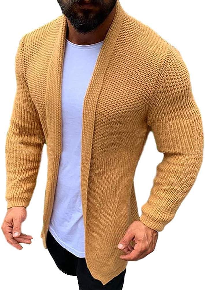 Ywyxhzha Men's Cardigan Sweater Long Knit Jacket Solid Cotton Shawl Collar Coat