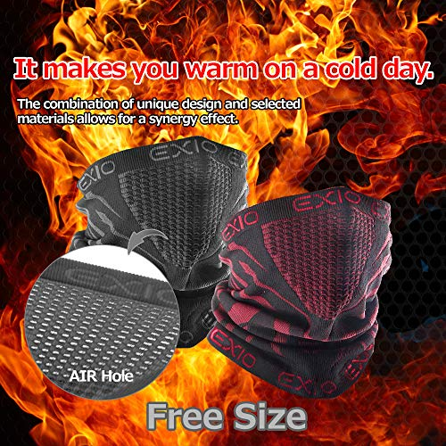 61MF3F7WZdL - EXIO Winter Neck Warmer Gaiter/Balaclava (1Pack or 2Pack) - Windproof Face Mask for Ski, Snowboard
