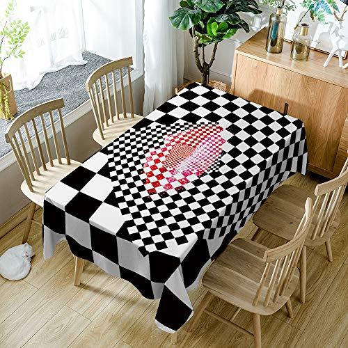Tafelkleed kleurrijke zwart-wit geblokte lippen Outdoor decoratie tafelkleed huishoudelijke artikelen 55x78 inch