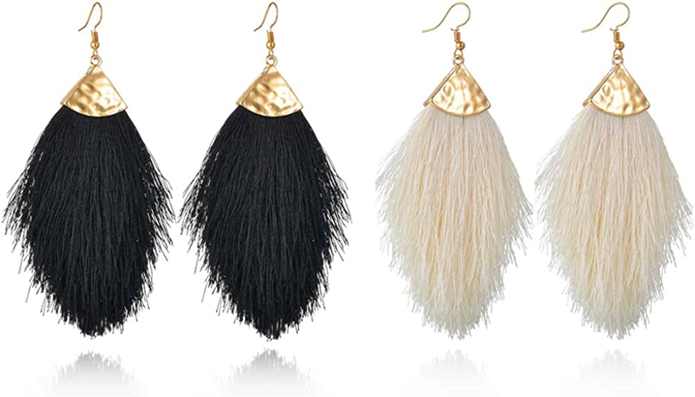 Chic Fringe Tassel Statement Dangle Earrings Lightweight Boho Long Feather Drops for Women - Bohemian Tribal Hammered Gold-Tone with Silky Thread Strands