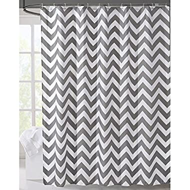 LanMeng Geometric Fabric Shower Curtain, Grey Chevron Off White (72-by-72 inches, 1)