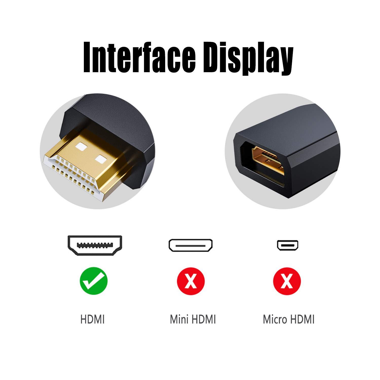 Cable Alargador HDMI para TV Stick 10 cm 1 Unidad, Ancable HDMI Macho a Hembra para Nintendo Switch, BLU-Ray, Samsung TV, LG TV, TV Stick, PS4, Roku Stick, Xbox Lenovo, DELL Laptop