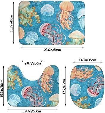 WXZQNN Alfombras De Baño Antideslizantes Juego De 3 Piezas Alfombras De Baño De Medusas De Colores + Funda De Asiento De Inod