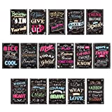 Get Motivation: These bright and colorful chalkboard style motivational posters include 16 beautiful designs with inspirational quotes for kids and adults alike that will set the stage for learning and help you maintain positive attitudes and self-co...