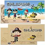 vanVerden - Piraten Einladungskarten mit Umschlag - 6er Set Geburtstags-Einladungen - Piraten-Party Einladung