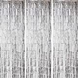 ONUPGO 3 Pack 3.28 ft x 9.8 ft Silver Foil Curtains Metallic Tinsel Fringe Curtain Photo Booth Props Backdrop Curtain Perfect for Birthday Wedding Baby Shower Christmas Holiday Party Decorations