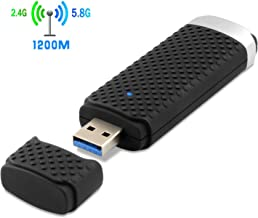 1200Mbps Wireless USB WiFi Adapter, Dual Band 2.4G/300Mbps+5.8G/867Mbps WiFi Dongle Complies with 802.11 b/g/n/ac Standard Supports Windows & Mac OS X System