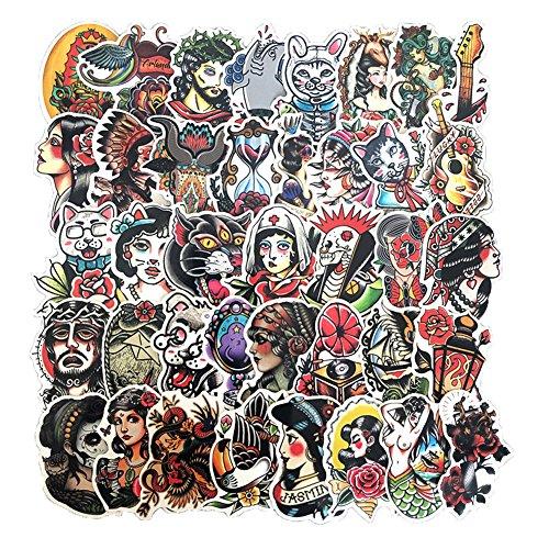 50 Pcs Vinyl Tattoo Stickers Waterproof Old School Tattoo Sticker Pack for Water Bottle Hydro Flask Laptop Skateboard Luggage Bike Car