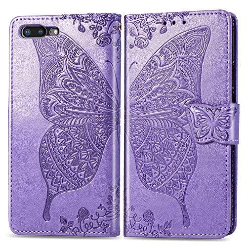 Luckyandery - Funda tipo cartera para iPhone 8 Plus, piel, 8 Plus, tarjetero, cierre magnético, color morado claro