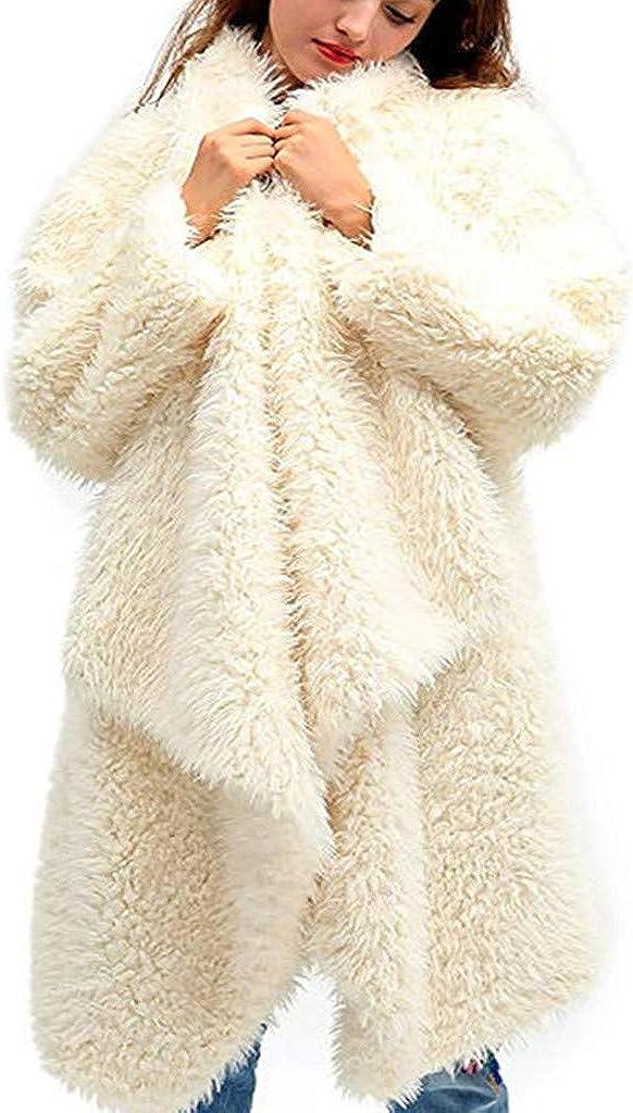 Zainafacai Women's Fuzzy Fleece Lapel Open Front Casual Long Cardigan Coat Faux Fur Warm Winter Outwear Jackets
