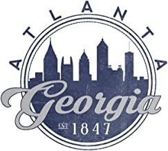 Atlanta, Georgia - Skyline Seal (Blue) (16x24 Giclee Gallery Print, Wall Decor Travel Poster)