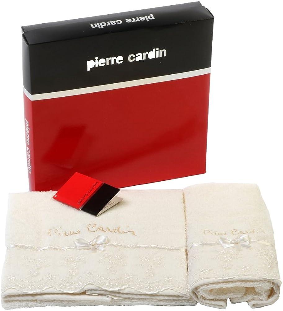 Pierre cardin, coppia di asciugamani bagno,in  spugna,cotone idro Pie028