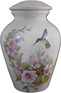 Flower with Hummingbird Urn- Cremation urn or keepsake for ashes - Hand Made Pottery